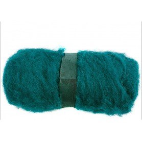 Carded Wool, green, 100 g/ 1 bundle