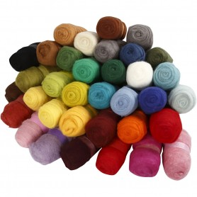 Carded Wool, assorted colours, 35x100 g/ 1 pakk