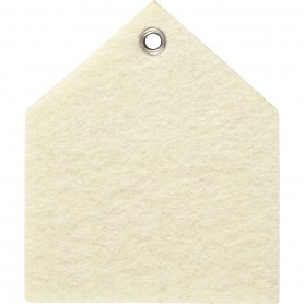 Felt shape, off-white, size 6,5x7,5 cm, thickness 3 mm, 5 pc/ 1 pack