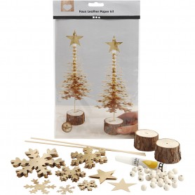 Faux Leather Christmas Trees, gold, thickness 0,55 mm, 1 set