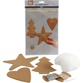 Faux Leather Christmas Ornaments, natural, thickness 0,55 mm, 1 set