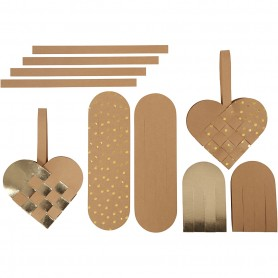 Faux leather paper hearts, natural, gold, thickness 0,55 mm, 1 set