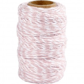 Cotton Cord, valge/light punane, thickness 1,1 mm, 50 m/ 1 rull