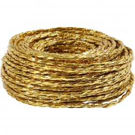 Paper Yarn, gold, thickness 3,5-4 mm, 25 m/ 1 rull