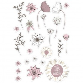 Die cut tags, beige, rose, white, size 2,2-10 cm, 72 pc/ 1 pack