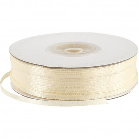 Satin Ribbon, off-white, W: 3 mm, 100 m/ 1 roll