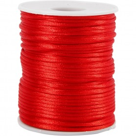 Satin Cord, punane, thickness 2 mm, 50 m/ 1 rull