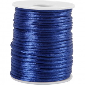 Satin Cord, dark sinine, thickness 2 mm, 50 m/ 1 rull