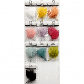 Artificial feathers, assorted colours, L: 15 cm, W: 8 cm, 10x10 pack/ 1 pack