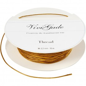 Thread, gold, thickness 0,5 mm, 10 m/ 1 roll