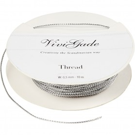 Thread, silver, thickness 0,5 mm, 10 m/ 1 roll