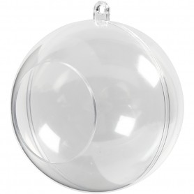 Two-piece open acrylic bauble, D: 8 cm, augu suurus 4,5 cm, 5 pc/ 1 pakk