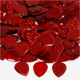 Sequins, red, raindrop, size 14x19 mm, 50 g/ 1 pack