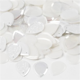 Sequins, white, size 14x19 mm, 50 g/ 1 pack