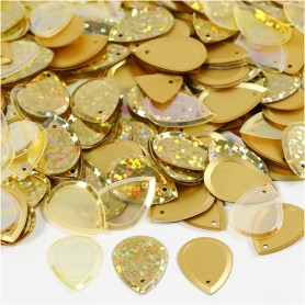 Sequins, gold, size 14x19 mm, 50 g/ 1 pack