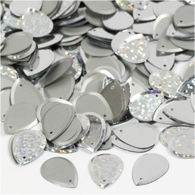 Sequins, silver, raindrop, size 14x19 mm, 50 g/ 1 pack