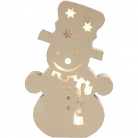 Figure with light inside, snowman, H: 27 cm, depth 4 cm, W: 17,5 cm, 1 pc