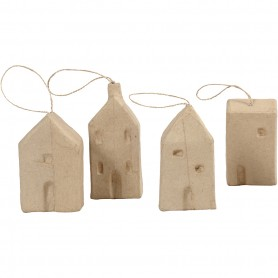 House, H: 9,5-12 cm, L: 5,5-6,5 cm, W: 3 cm, 4 pc/ 1 pakk