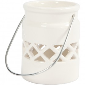 Lantern, white, H: 8 cm, D: 6,2 cm, 6 pc/ 1 box