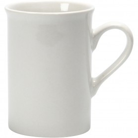 Porcelain Mug, white, H: 10 cm, D: 7,4 cm, 2 pc/ 1 pack
