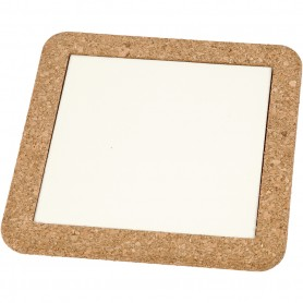 Trivet with cork frame, white, size 15,5x15,5x1 cm, 2 pc/ 1 pack