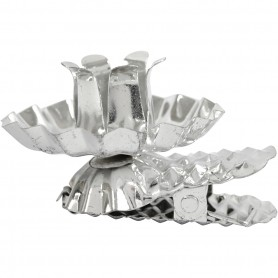 Clip on candle holder, silver-plated, D: 40 mm, 8 pc/ 1 pakk