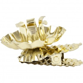 Clip on candle holder, gold-plated, D: 40 mm, 8 pc/ 1 pakk