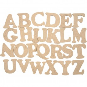 Letters, A-Z, H: 4 cm, thickness 2,5 mm, 26 pc/ 1 pack