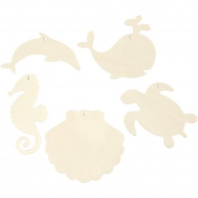 Sea creatures for hanging, Seahorse, turtle, dolphin, mussel and whale, H: 5-10 cm, hole size 3 mm, thickness 2 mm, 5 pc/ 1 pack