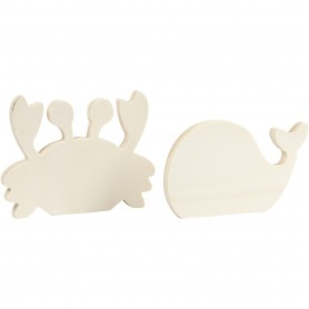 Sea life figures, Crab and whale, H: 9,5-12 cm, W: 16 cm, thickness 1,2 cm, 2 pc/ 1 pack