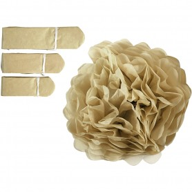 Tissue Pompons, gold, D: 20+24+30 cm, 16 g, 3 pc/ 1 pakk