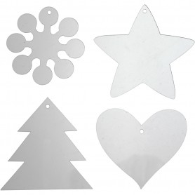 Acrylic ornaments, H: 7-8,5 cm, thickness 2 mm, 40 pc/ 1 pakk