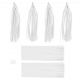 Paper Tassel, white, size 12x35 cm, 14 g, 12 pc/ 1 pack