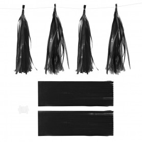 Paper Tassel, black, size 12x35 cm, 14 g, 12 pc/ 1 pack
