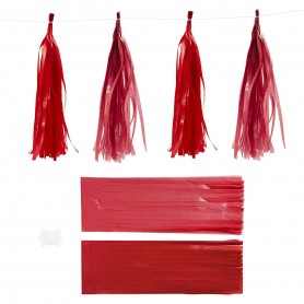 Paper Tassel, claret/red, size 12x35 cm, 14 g, 12 pc/ 1 pack