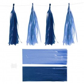 Paper Tassel, dark blue/light blue, size 12x35 cm, 14 g, 12 pc/ 1 pack