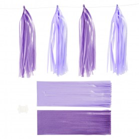 Paper Tassel, dark lilac/light lilac, size 12x35 cm, 14 g, 12 pc/ 1 pack