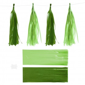 Paper Tassel, dark green/lime green, size 12x35 cm, 14 g, 12 pc/ 1 pack