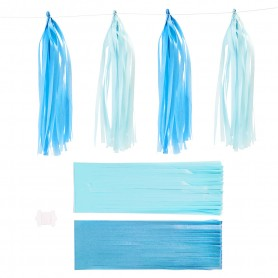 Paper Tassel, blue, light blue, size 12x35 cm, 14 g, 12 pc/ 1 pack