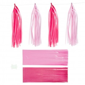 Paper Tassel, pink, light red, size 12x35 cm, 12 pc/ 1 pack