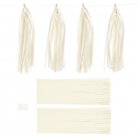 Paper Tassel, off-white, size 12x35 cm, 14 g, 12 pc/ 1 pack