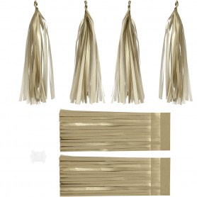 Paper Tassel, gold, size 12x35 cm, 14 g, 12 pc/ 1 pack