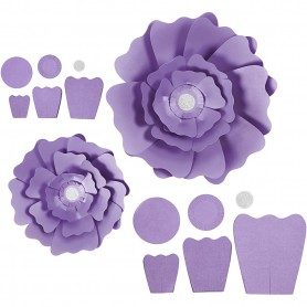Paper Flowers, purple, D: 15+25 cm, 230 g, 2 pc/ 1 pakk