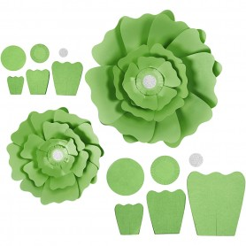 Paper Flowers, green, D: 15+25 cm, 230 g, 2 pc/ 1 pakk