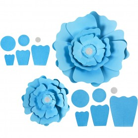 Paper Flowers, light sinine, D: 15+25 cm, 230 g, 2 pc/ 1 pakk