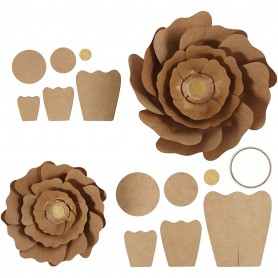 Paper Flowers, natural, D: 15+25 cm, 2 pc/ 1 pakk