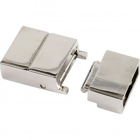Click Clasp, silver-plated, size 25x16x6 mm, hole size 4x8 mm, 1 pc