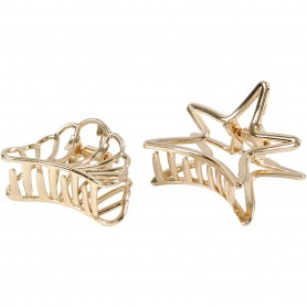 Hair claws, gold-plated, L: 44 mm, W: 36 mm, 2 pc/ 1 pakk