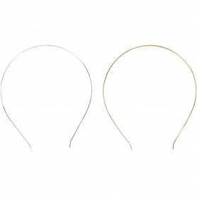 Hair band, gold-plated, silver-plated, L: 142 mm, W: 123 mm, 2 pc/ 1 pakk
