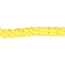 Clay Beads, yellow, D: 5-6 mm, hole size 2 mm, 145 pc/ 1 strand